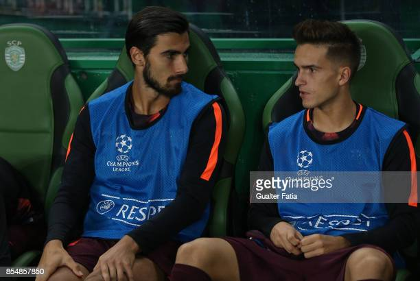 Barcelona midfielder Andre Gomes from Portugal and Barcelona midfielder Denis Suarez from Spain before the start of the UEFA Champions League match...