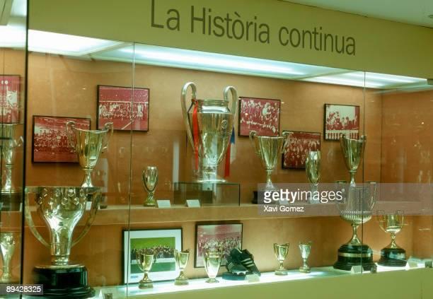 FC Barcelona Museum in Nou Camp stadium Trophies glass case