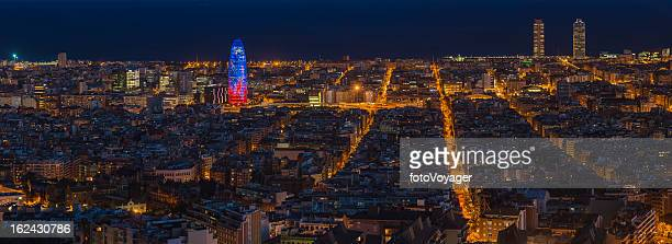 Barcelona night city downtown panorama Torre Agbar