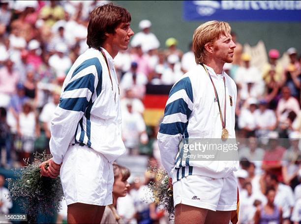 Barcelona Olympics Boris Becker and Michael Stich of Germany win mens doubles Mandatory Credit Allsport/ALLSPORT