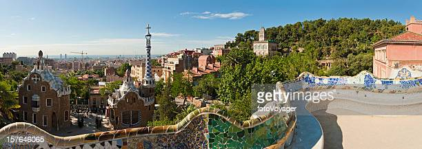 Barcelona Parc Güell Gaudí mosaic bench terrace panorama Catalonia Spain