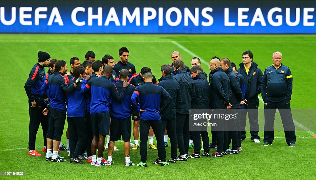 FC Barcelona players and coaching staff attend a training session ahead of the UEFA Champions League semi-final first leg against FC Bayern Muenchen at Allianz Arena on April 22, 2013 in Munich, Germany.