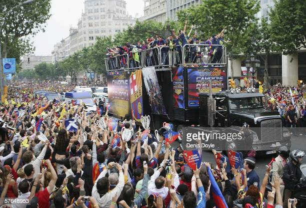 Barcelona players celebrate on a truck after winning the UEFA Champions League final on May 18 2006 in central Barcelona Spain
