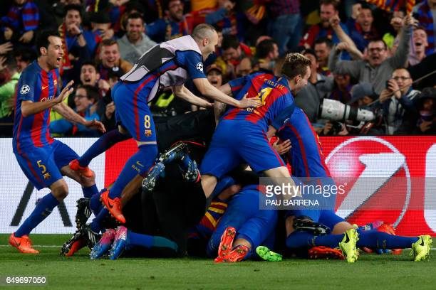 Barcelona players celebrate their last goal during the UEFA Champions League round of 16 second leg football match FC Barcelona vs Paris SaintGermain...
