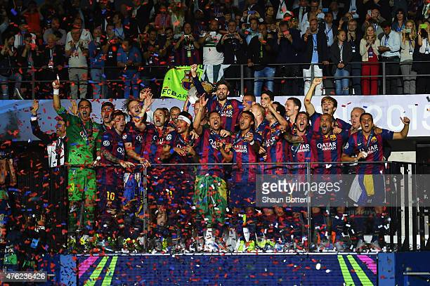 Barcelona players celebrate victory after the UEFA Champions League Final between Juventus and FC Barcelona at Olympiastadion on June 6 2015 in...