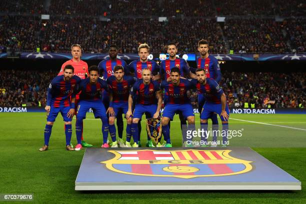 Barcelona pose for a team photograph ahead of the UEFA Champions League Quarter Final second leg match between FC Barcelona and Juventus at Camp Nou...
