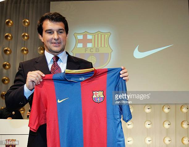 Barcelona President Joan Laporta reveals home shirt for the 2006/07 season during a press conference on June 21 2006 in Frankfurt Germany The Away...