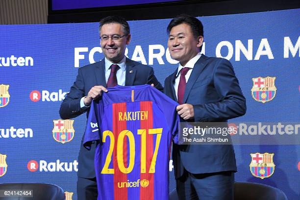 Barcelona President Josep Bartomeu and Rakuten Chairman and CEO Hiroshi Mikitani xxx during a news conference on November 16 2016 in Barcelona Spain...