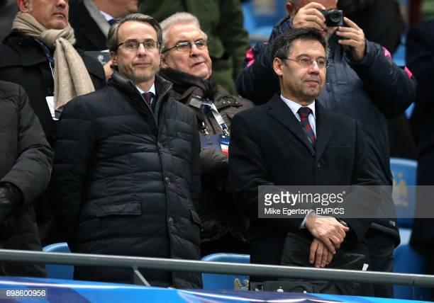 Barcelona President Josep Maria Bartomeu and First vicepresident Javier Faus
