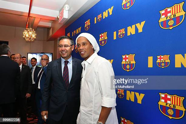 Barcelona President Josep Maria Bartomeu and Ronaldinho pose at a party at Mad 46 celebrating the opening of their first US office on September 6...