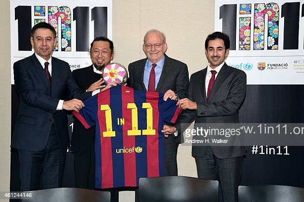FC Barcelona President Josep Maria Bartomeu artist Takashi Murakami UNICEF Executive Director Anthony Lake and ROTA Director Essa Al Mannai support...