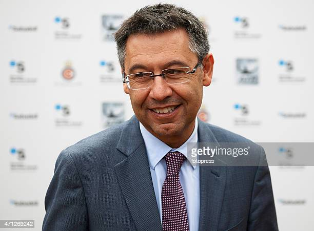 Barcelona president Josep Maria Bartomeu attends day seven of the Barcelona Open Banc Sabadell at the Real Club de Tenis Barcelona on April 26 2015...