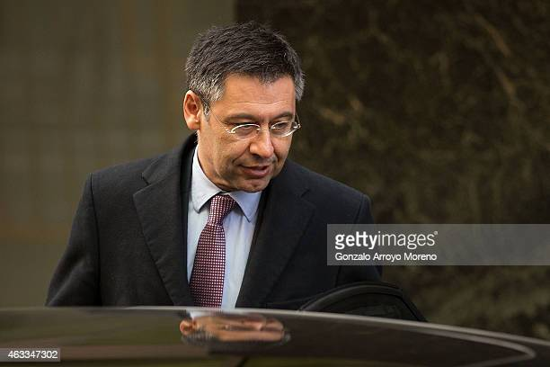 Barcelona president Josep Maria Bartomeu enters a waiting car after leaving Spain's High Court on February 13 2015 in Madrid Spain FC Barcelona...