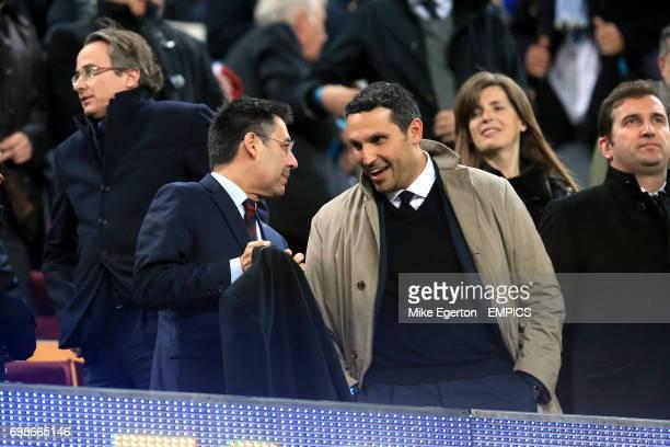 Barcelona President Josep Maria Bartomeu in the stands with Manchester City chairman Khaldoon alMubarak