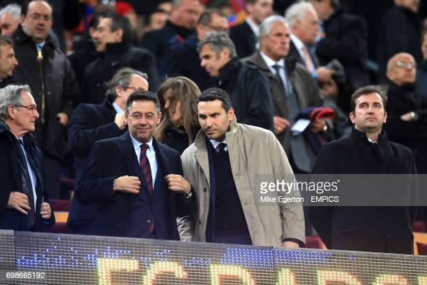 Barcelona President Josep Maria Bartomeu in the stands with Manchester City chairman Khaldoon alMubarak and chief executive Ferran Soriano