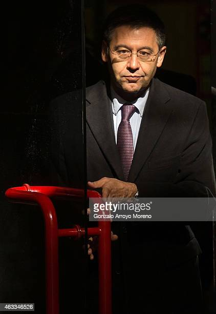 Barcelona president Josep Maria Bartomeu leaves Spain's High Court on February 13 2015 in Madrid Spain FC Barcelona president Josep Maria Bartomeu...