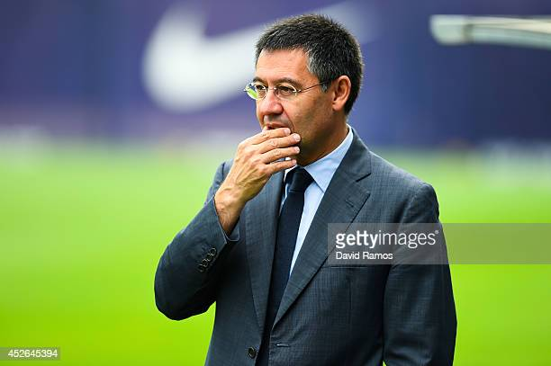 Barcelona President Josep Maria Bartomeu looks on during a FC Barcelona training session at Ciutat Esportiva de Sant Joan Despi on July 25 2014 in...