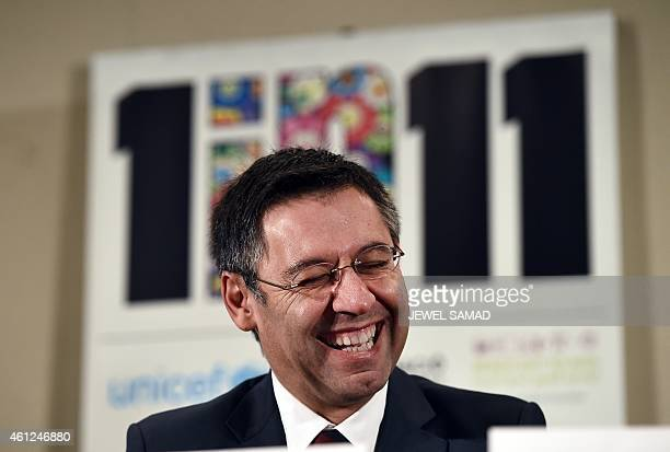 FC Barcelona President Josep Maria Bartomeu smiles during the launch the 1 in 11 campaign by UNICEF in New York on January 9 2015 UNICEF lunched the...