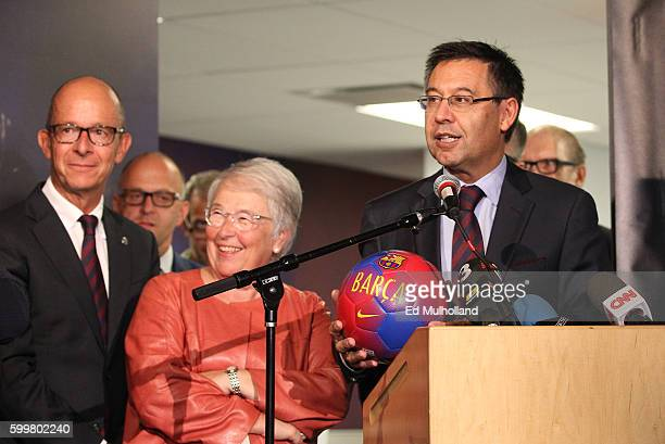 Barcelona President Josep Maria Bartomeu speaks at the opening of their New York Office its first office in the United States on September 6 2016 in...