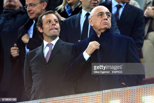Barcelona president Sandro Rosell with AC Milan vice president Adriano Galliani