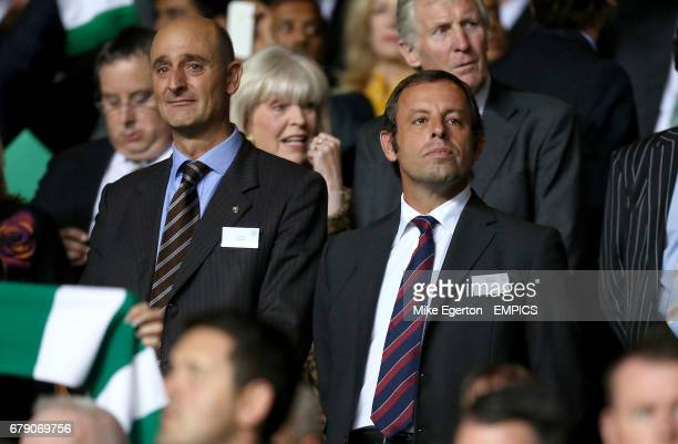 Barcelona president Sandro Rosell with director Jordi Moix in the stands