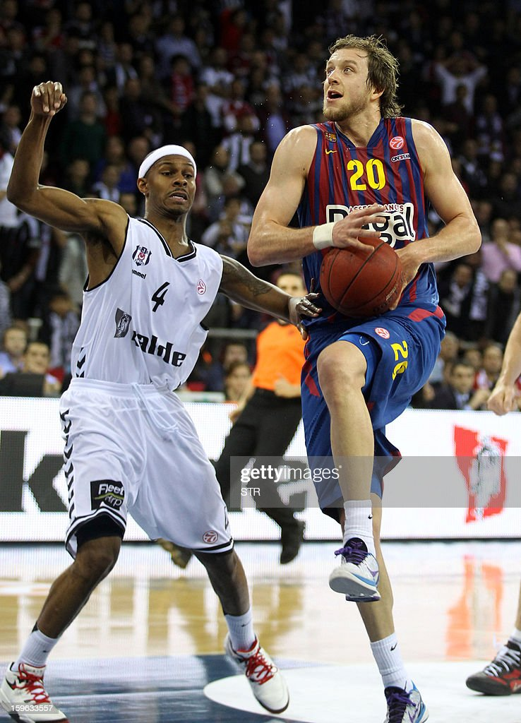 Barcelona Regal's Erazem Lobrek (R) vies with Besikta's Joe Ingles during their Euroleague Top 16 group F basketball match in Istanbul on January 17, 2013.