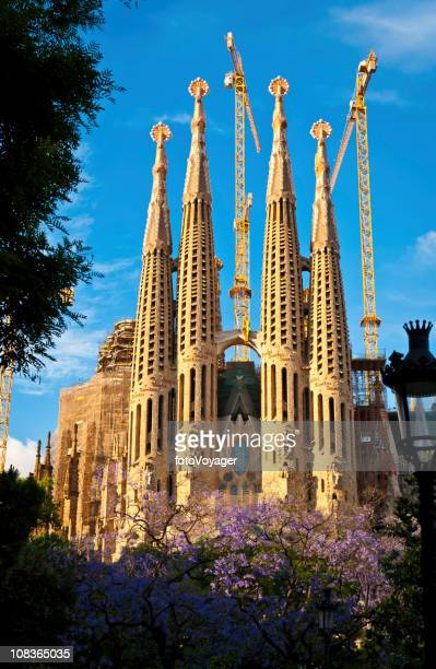 Barcelona Sagrada Familia Gaudi spires framed by spring foliage Spain