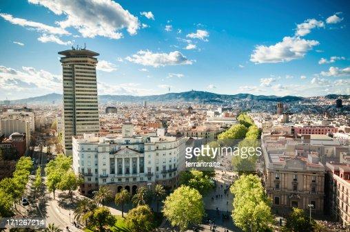 Barcelona Skyline Ramblas