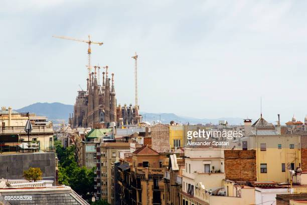 Barcelona skyline with Sagrada Familia on the left, Catalonia, Spain