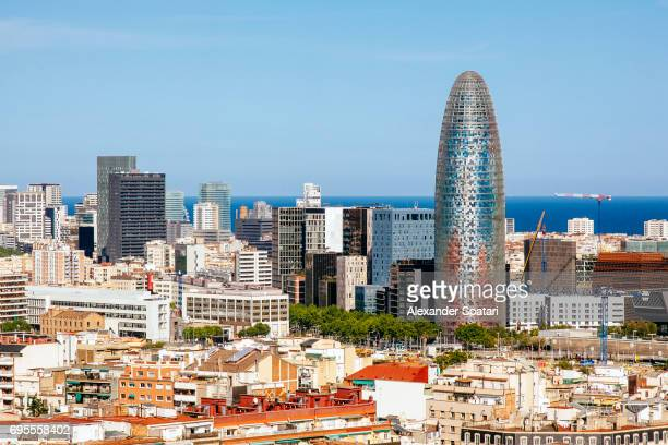Barcelona skyline with Torre Agbar on a sunny day, Barcelona, Catalonia, Spain