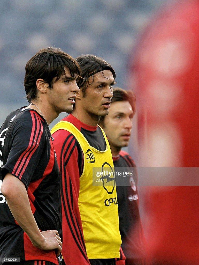 AC Milan s Kaka L Paolo Maldini and A
