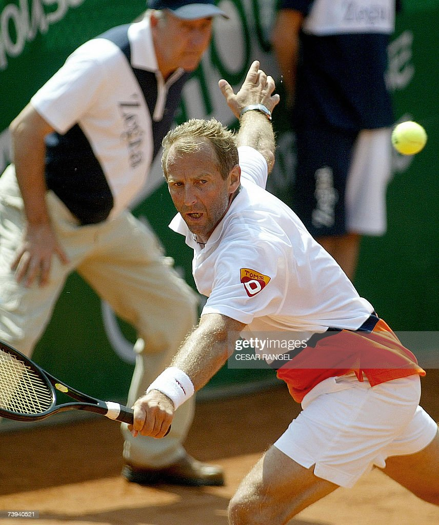 Autrian Thomas Muster hits a backhand to