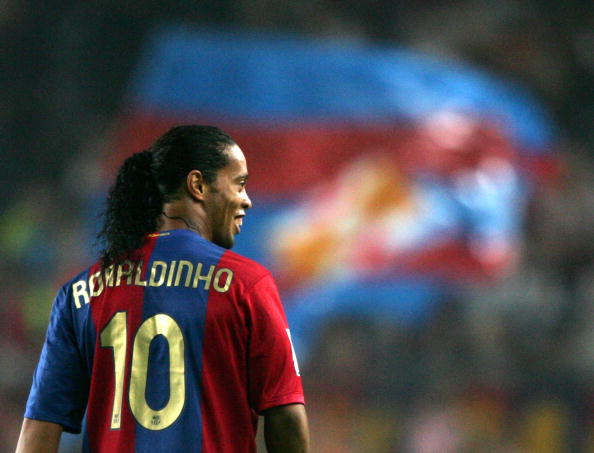 FC Barcelona's Brazilian Ronaldinho appe : News Photo