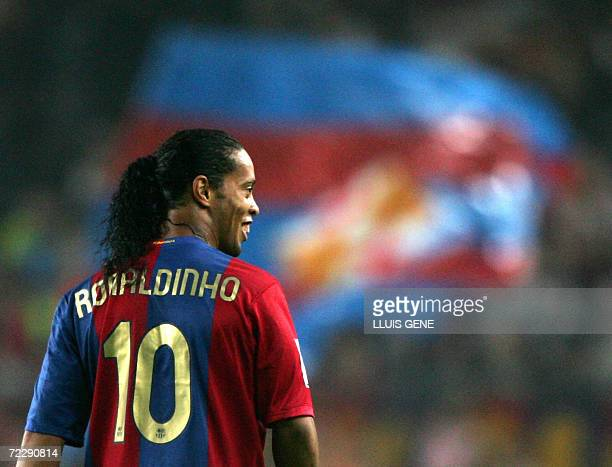 FC Barcelona's Brazilian Ronaldinho appears during their Spanish League football match against Recreativo de Huelva at Camp Nou stadium in Barcelona...