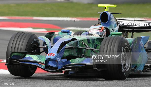 Formula One test driver Austria's Christian drives his Honda with new spoilers on the front during a test session at the Catalonia racetrack in...