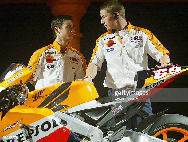 Repsol Honda Team riders Spain's Dani Pedrosa and US Nicky Hayden are seen during the official team presentation at the Catalonia racetrack in...
