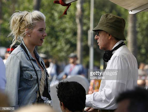 US director Woody Allen speaks to US actress Scarlett Johansson on the first day of shooting his untitled film 09 July 2007 in Barcelona Security...