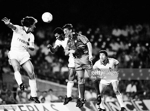 Barcelona striker Gary Lineker heads the ball despite the attention of FC Porto defenders during the Gamper Tournament held at The Nou Camp Stadium...