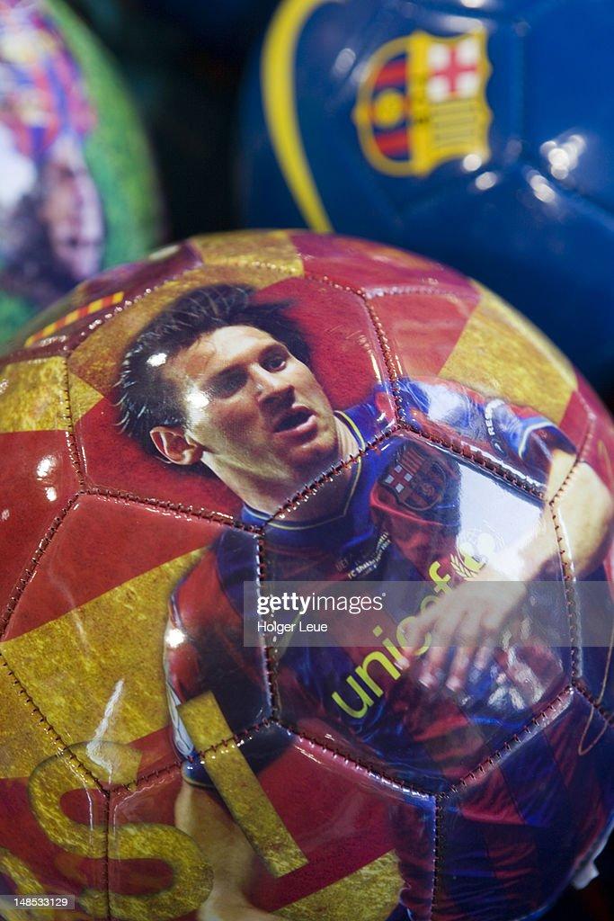 FC Barcelona superstar Lionel Messi soccer ball. : Stock Photo