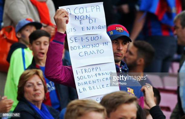 FC Barcelona supporter during La Liga match between FC Barcelona v Real Sociedad in Barcelona on April 15 2017 Photo Joan Valls/Urbanandsport/Nurphoto