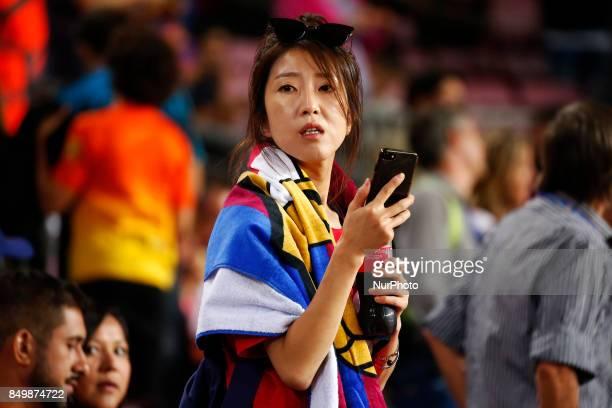FC Barcelona supporter during La Liga match between FC Barcelona v SC Eibar in Barcelona on September 19 2017