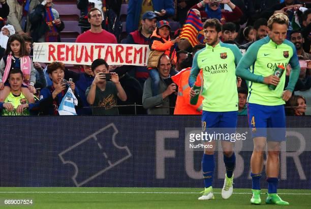 FC Barcelona supporter sure to surmount against Juventus during La Liga match between FC Barcelona v Real Sociedad in Barcelona on April 15 2017...