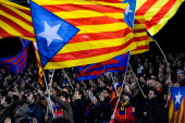 Barcelona supporters wave proindependence Catalan flags during the La Liga match between FC Barcelona and Villarreal CF at Camp Nou on December 14...