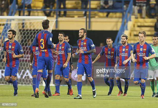 Barcelona team clebrates scoring a goal against AlAhli Saudi FC during the Qatar Airways Cup match between FC Barcelona and AlAhli Saudi FC on...