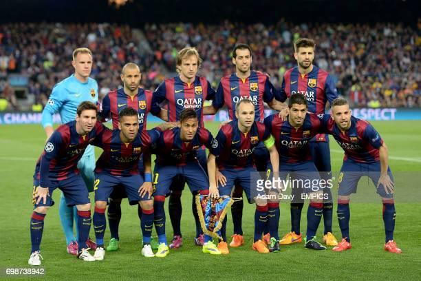 Barcelona team group MarcAndre ter Stegen Javier Mascherano Ivan Rakitic Sergio Busquets Gerard Pique Lionel Messi Dani Alves Neymar Andres Iniesta...