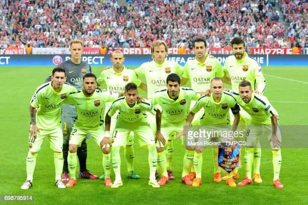 Barcelona team group MarcAndre ter Stegen Javier Mascherano Ivan Rakitic Sergio Busquets Gerard Pique Lionel Messi Dani Alves Neymar Luis Suarez...
