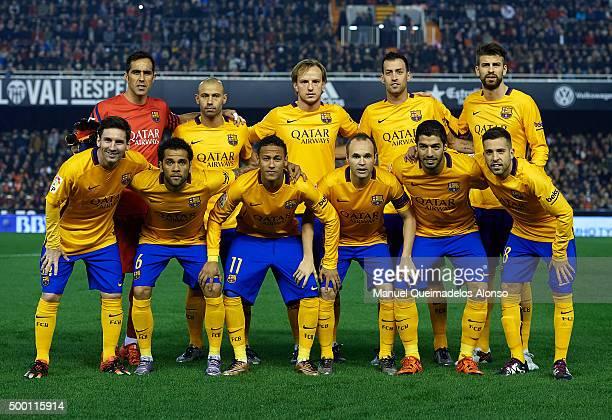 Barcelona team pose prior to the the La Liga match between Valencia CF and FC Barcelona at Estadi de Mestalla on December 05 2015 in Valencia Spain
