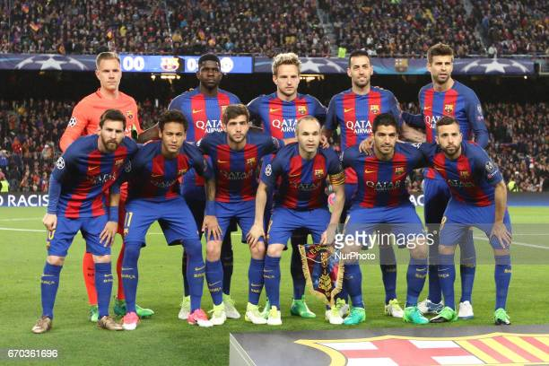 Barcelona team poses in order to be photographed before the Uefa Champions League quarter finals football match BARCELONA JUVENTUS on at the Camp Nou...