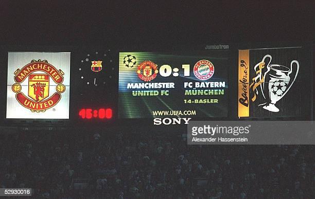 ANZEIGETAFEL 1999 Barcelona/ESP FUSSBALL CHAMPIONS LEAGUE 98/99 FINALE MANCHESTER UNITED FC BAYERN MUENCHEN 21