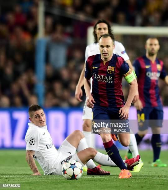Barcelona's Andres Iniesta gets away from Paris SaintGermain's Marco Verratti